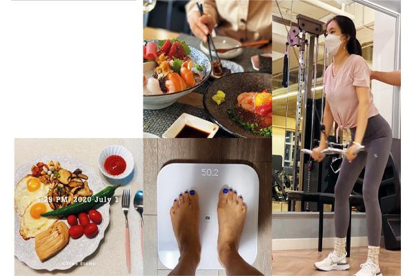 운동하는 모습과 다이어트 식단